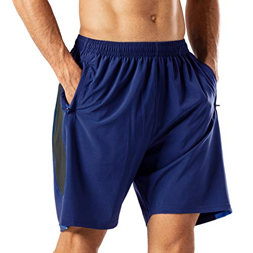 Pantalones Cortos Deportivos para Hombre Transpirable Secado Rapido para Running Fitness Gym(Negro Marino L)