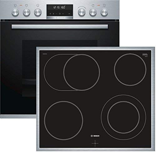 Bosch HND671LS65 Herd-Kochfeld-Kombination (Einbau) / A / 59,4 cm / Edelstahl / Klapptür / LCD-Display / Pyrolyse / Elektrokochfeld (herdgesteuert) / 4 HighSpeed-Kochzonen / Umlaufender Rahmen