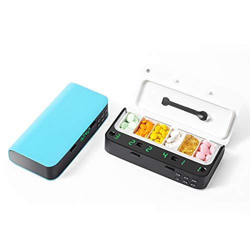 La pequeña caja de píldoras pequeñas electrónicas inteligentes le recuerda a los ancianos que tomen medicamentos regularmente, el reloj de alarma saludable, la caja de píldoras de dispensación portáti