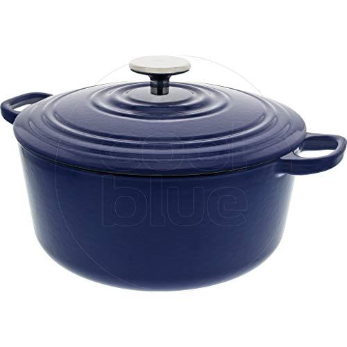 BK Cookware Cocotte en Fonte Émaillée avec Couvercle 24 cm, Dutch Oven, Casserole Induction Ronde 4.2 Litres, Tous Feux, Bleu Royal