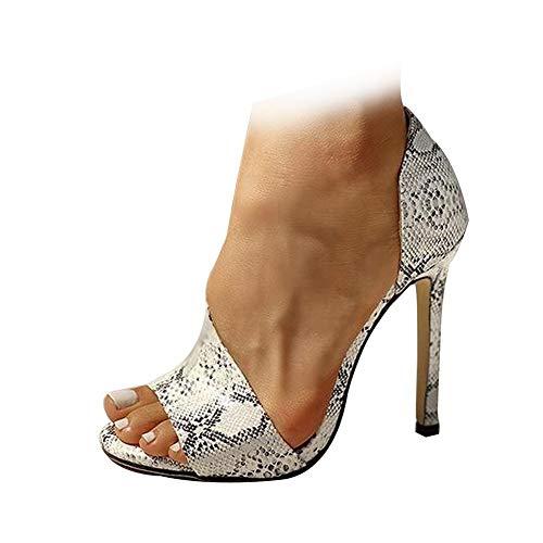 AOSPHIRAYLIAN Damen Pumps mit Stiletto-Absatz, spitz, offener Zehenbereich, hoher Absatz, zum Reinschlüpfen, Sommer, Hochzeitskleid, Pumps, - 1 weiße Schlange - Größe: 38 EU