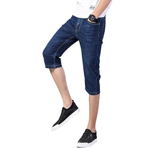 Pantalones Vaqueros de Verano para Hombre Pantalones Cortos de Mezclilla Casuales elásticos de Gran tamaño Delgado Pantalones Cortos de Mezclilla de Moda de Todo fósforo 30