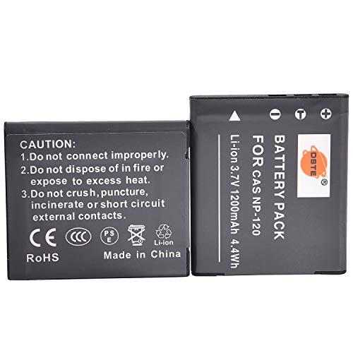 DSTE 2-Pack Ersatz Batterie Akku for Casio NP-120 Exilim EX-S200 EX-S200BE EX-S200BK EX-S200EO EX-S200PK EX-S200SR EX-S300 EX-Z31 EX-Z680 EX-Z690 EX-ZS10 EX-ZS10BE EX-ZS10BK EX-ZS10PK EX-ZS10RD EX-ZS10SR EX-ZS12 Kamera