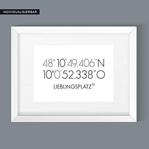 Personalisiertes Poster Koordinaten - Lieblingsplatz -Geschenk zum Einzug - Geschenk zum Umzug - GPS-Koordinaten - Hochzeitsgeschenk