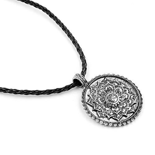 Collares con colgante redondo de loto Vintage para mujeres y hombres, cadena de cuerda, collar de flores espirituales de brujería, joyería religiosa para hombres, regalos