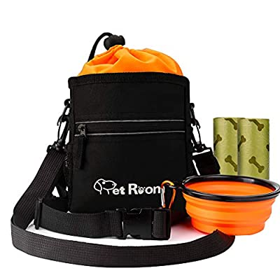 Pet Room Dog Treat Pouch Bag with Poop Bag Holder, Dog Walking Bag with Adjustable Belt and Shoulder Strap Treat Bag for Dog Training, Collapsible Silicone Dog Water Bowl