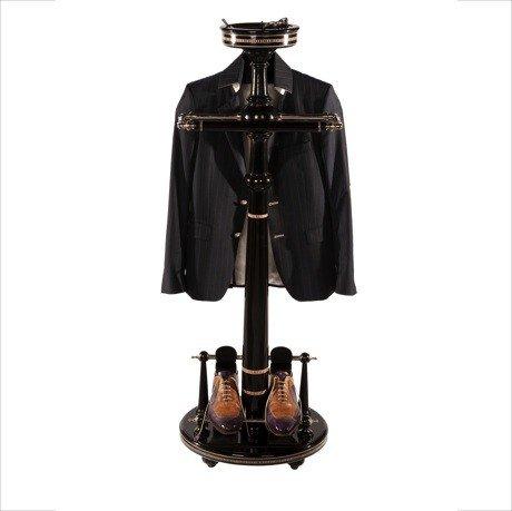 Casa Padrino Designer Garderoben Ständer New York Banker Stil - Schwarz- Dressboy - Kleiderständer Anzugständer - Barock Empire Art Deco Jugendstil Biedermeier
