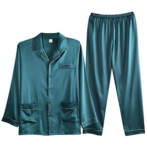 LSJSN Schlafanzug Herbst Frühling Herren Seide Einfache Pyjama Sets Satin Cardigan Nachtwäsche Fashion Home Clothes M