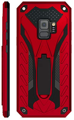 Kitoo Designed for Samsung Galaxy S9 Case with Kickstand, Military Grade 12ft. Drop Tested - Red