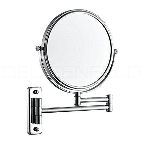 DEUSENFELD K5C - Doppel Wand Kosmetikspiegel, Rasierspiegel, Schminkspiegel, 5-Fach Vergrößerung und Normalspiegel, Ø 20cm, MS verchromt