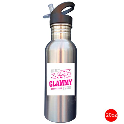The Best Glammy Ever Grandma Glam 20oz SILVER Stainless Steel Sport Water Bottle With Straw Cap
