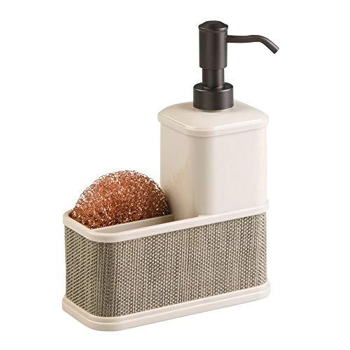 mDesign Dispensador de baño y Cocina Recargable – Bote dosificador de jabón Grande para 532 ml de jabón líquido – Dispensador de Gel de plástico con Soporte para Esponja y Estropajo – Color nácar