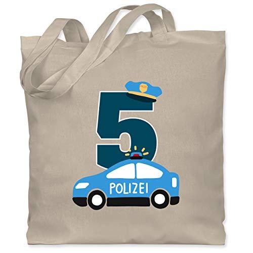 Shirtracer Geburtstag Kind - Polizei Geburtstag 5 - Unisize - Naturweiß - Polizei - WM101 - Stoffbeutel aus Baumwolle Jutebeutel lange Henkel
