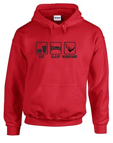 Print+Wear+Clothing Eat Sleep Windsurf, Impreso Hoody–Sudadera Rojo y Negro Medium