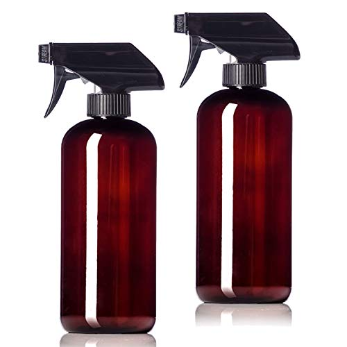 16oz Amber Plastic Bottles with Black Trigger Sprayers, BPA Free PET Plastic (2 Pack)