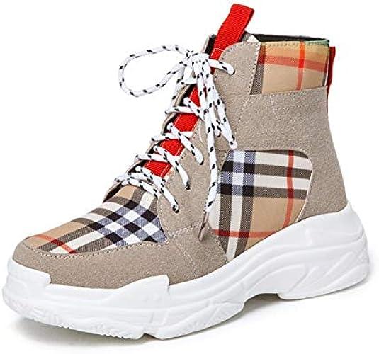 Shukun Bottes Bottes de gateau en éponge Chaussures de Couleur Assortie à la Taille Bottes pour Femmes Bottes en Tissu à Carreaux Martin