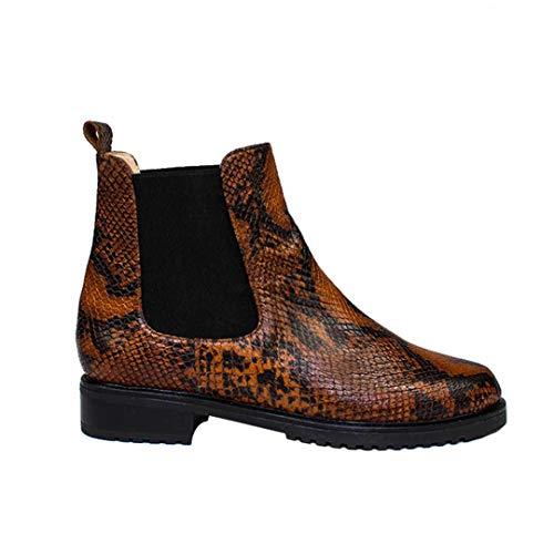 Jada - Chelsea dames casual winter platte lederen laarzen met elastiek - anti-slip rubberen zool - leder reliëf slangenleer bruin zwart
