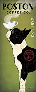 Boston Terrier Coffee Co Ryan Fowler Vintage Ads Dogs Pets Print Poster (Choose Print or Framed)
