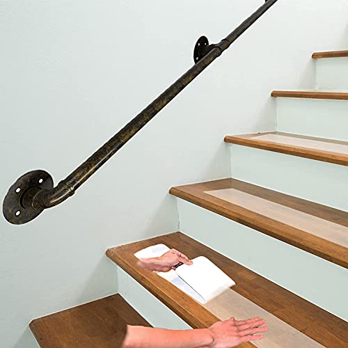 Stair Handrails 1ft-20ft, Professional Industrial Pipe Antique Antique Cast Iron Old-Age Safety Stair Railing Hand Rail, Outdoor Ladder Support Rod (Size : 16ft/480cm)