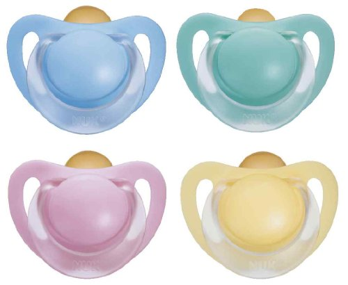 NUK 10171026 - Latex Beruhigungssauger (Schnuller) Starlight mit Ring, Größe 1 (0-6 Monate), kiefergerecht, BPA-frei, 2 Stück, Farbe nicht frei wählbar