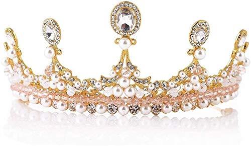 KEEBON Tiaras para Mujeres, Rhinestone Pearl Queen Crown Crown Tiaras Bodas Playos de peluqueros Crown Crown, Color: Oro Pulseras Pendientes Anillos Collares (Color : Gold)