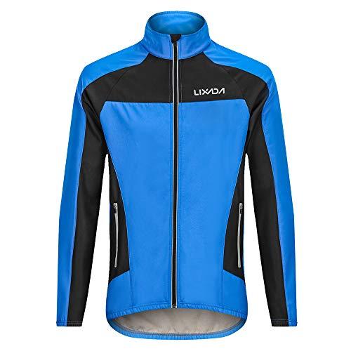 Lixada Hommes Hiver Vélo Veste Coupe-Vent en Molleton Thermique Manches Longues À Vélo Veste Coupe-Vent (S)