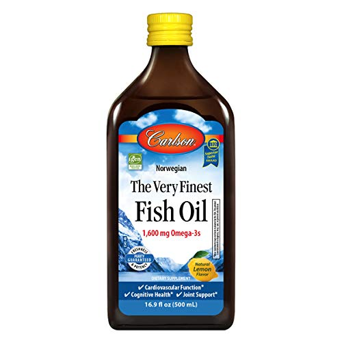 Carlson - The Very Finest Fish Oil, 1600 mg Omega-3s, Liquid Fish Oil Supplement, Norwegian Fish Oil, Wild-Caught, Sustainably Sourced Fish Oil Liquid, Lemon, 500 mL (2 Pack)
