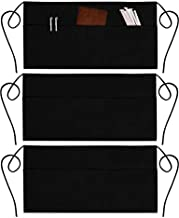 3 Pack Server Aprons with 3 Pockets - Waist Apron Waiter Waitress Apron Water Resistant Added Long Waist Strap Reinforced Seams Half Apron for Women