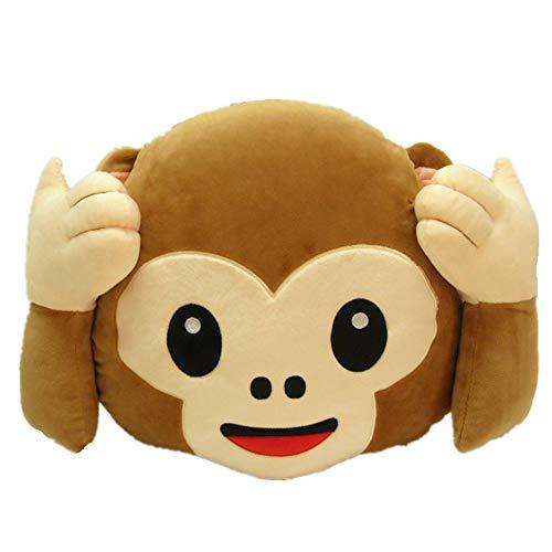 MoreLucky Rundes Kissen, Affe, Emoji, Smiley, Emoticon, gefüllt, Plüschtier, Furzkissen, 33 cm