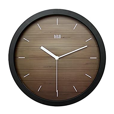 hito Silent Wall Clock Non ticking 12 inch Excellent Accurate Sweep Movement, Modern Decorative for Kitchen, Living Room, Bathroom, Bedroom, Office (A blackframe)