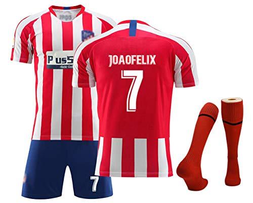 Fußballtrikots für Jungen, Kinder, Griezmann 7 Ñíguez 8 Koke 6 Home Swingman Jersey, Wettkampfkostüm Set Fußball-Kits, T-Shirt + Shorts + Socken-Joao Felix 7-24