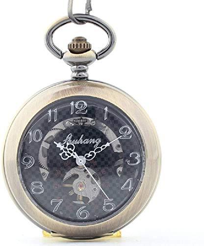 Lupa clásica Retro Reloj de Bolsillo mecánico con Forma de Concha enrollar manualmente a Las Personas de Mediana Edad y Mayores Reloj tuo Decorar Regalo para Padre