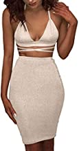 ioiom Ladies Autumn Sleeveless Bodycon Knee Length Sparkly Club Bandage Dress Gold S
