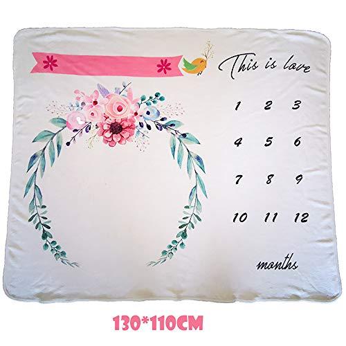FZ FUTURE Nouveau née Couverture de Props de Photographie, Baby Props imprimé Coton Mensuel Milestone Wrap Swaddle Couvertures, Cadeau de Shower de bébé, 130X110cm