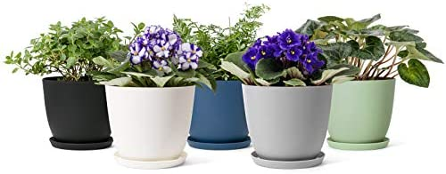 Mkono Plastic Planters with Saucers Indoor Set of 5 Flower Plant Pots Modern Decorative Gardening product image
