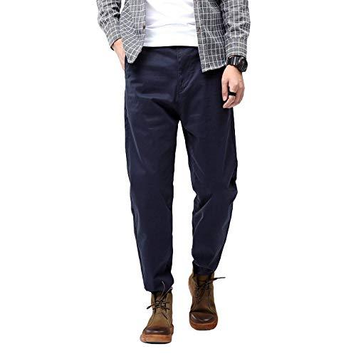 Pantalones Harem elásticos y relajados de Gran tamaño para Hombre, Ropa de Calle Informal de Color sólido, Pantalones de Todo fósforo con Botones y Tapeta con Cremallera 30