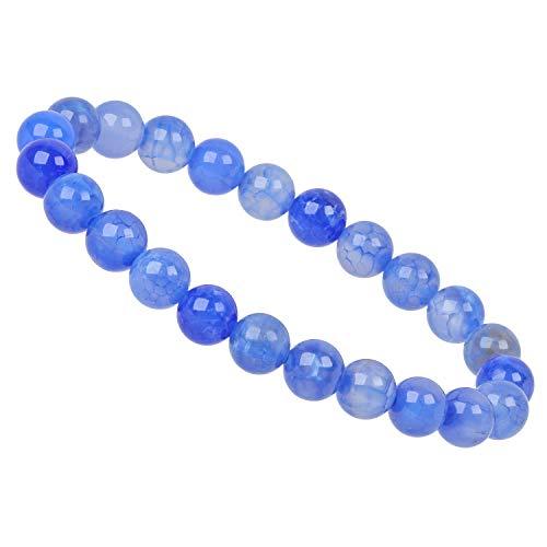 ELEDORO PowerBead - Pulsera elástica de perlas de piedras preciosas de 8 mm, ágata de fuego azul, grado A
