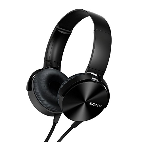 Sony High Clarity Extra Bass Over-the-Ear Headphones w/Microphone and Remote (Renewed) (MD-X450, Black)