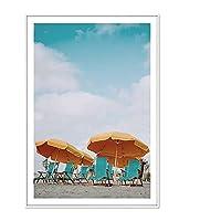 キャンバスプリントウォールアート写真北欧オーシャンビーチ風景キャンバス絵画グリーンパームツリーウォールアートポスター写真リビングルーム家の装飾-F_60X90Cm_No_Frame