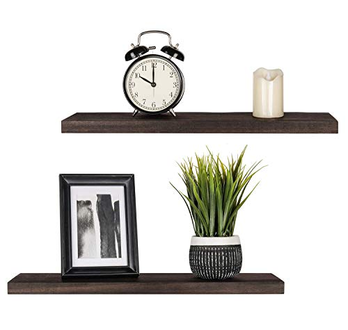 Mkono Floating Shelves Wood Wall Shelf Set of 2 Rustic Modern Wall Mouted Shelf for Plant Photo Display Ledges with Invisible Bracket for Living Room Bedroom Bathroom, Dark Brown