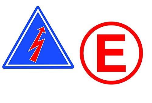 24/7stickers #398 / 2X Rrennsport Aufkleber je ca. 7 x 7 cm E Elektro Pfeil Emergency Racing Rennwagen Motorsport Sticker Tuning Rennen Rally