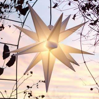 Mit LED Außenstern Stern Outdoor weiss - beleuchteter Stern 55-60 cm Weihnachtsstern Leuchtstern Faltstern mit Leuchtmittel LED (StaRt-NDL-DUH-E14-C3,5W)