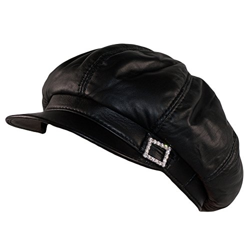 Dazoriginal Baker Boy Mujer Boina Cuero Gorra Negra Piel Gatsby Beret Sombrero (Varios)