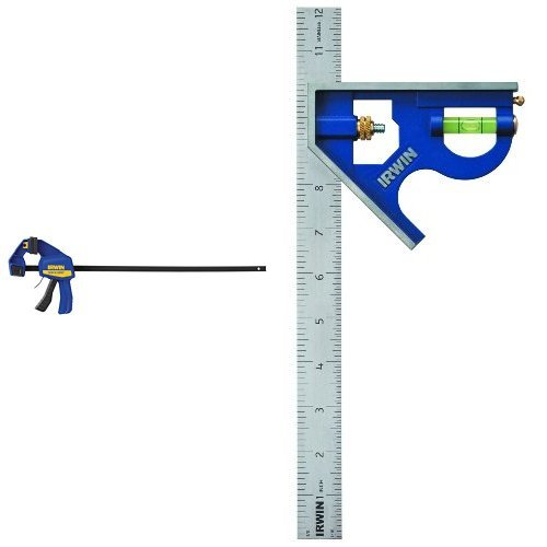 IRWIN QUICK-GRIP One-Handed Bar Clamp/Spreader and Combination Square, Metal-Body