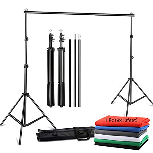 YUGAM Photography Backdrop Stand Kit Background Support Kit Foldable with Bag and Curtain Cloth (with Stand KIT, Green Screen)