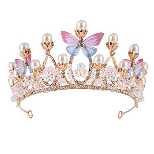 Corona hecha a mano para niñas, diseño de princesas de mariposa, tiaras y coronas modelo de pasarela, diadema de cristal