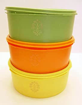 Vintage Tupperware Servalier 6 Piece Stacking Canister Set Orange Yellow Green 8 Cups