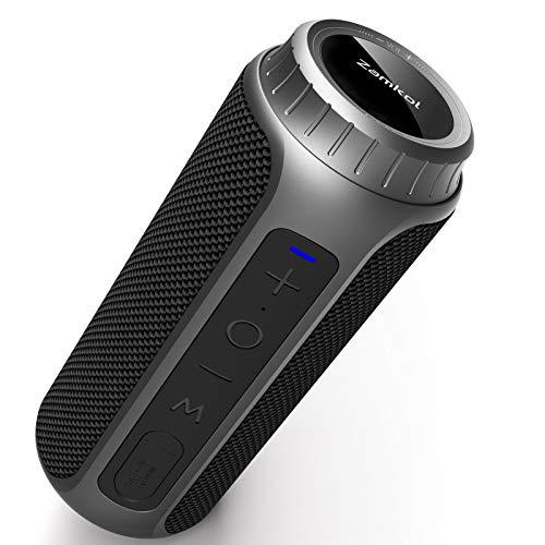 Enceinte Bluetooth Portable, Zamkol Bluetooth 5.0 Enceinte sans Fil, 10 Heures De Lecture, Son à 360 Degrés, Basses Améliorées X 30W, IPX6 étanche, Haut-Parleur TWS pour Les Voyages Et Fête