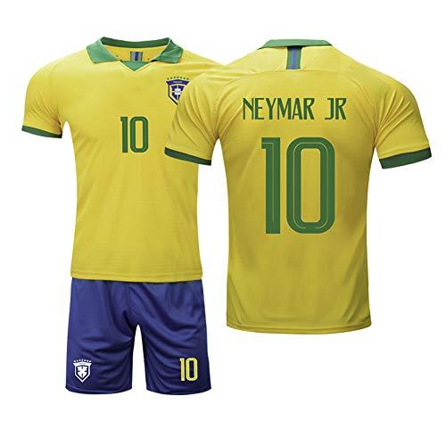 AELN kindervoetbalshirt set wit pak 10 # Neymar Brazilië professionele technische kleding atleten tricot tiener sportswear mesh sneldrogende korte mouwen fans sweatshirt