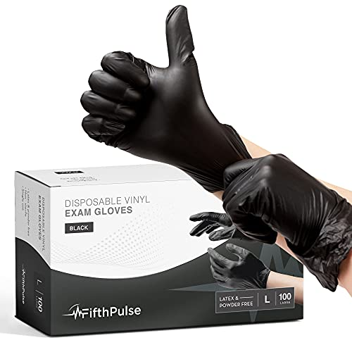 Black Vinyl Disposable Gloves Large 100 Pack - Latex Free, Powder Free Medical Exam Gloves - Surgical, Home, Cleaning, and Food Gloves - 3 Mil Thickness